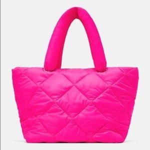 Zara fuchsia quilted shopper bag